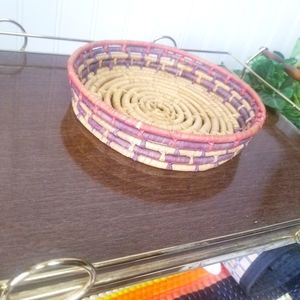 Woven Coiled Colored Hanging Basket Bowl